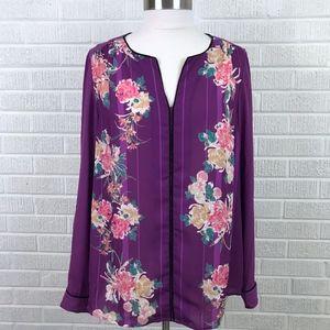 Modcloth Podcast Co-Host Floral Blouse Top Purple
